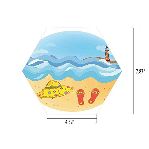 (iPrint Hexagon Wall Sticker,Mural Decal,Lighthouse,Colorful Minimal Doodle Lighthouse Beach Sea Waves Sand Hat Slippers Cloudy Day,Multicolor,for Home Decor 4.52x7.87 10 Pcs/Set)