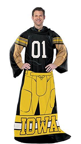 The Northwest Company NCAA Iowa Hawkeyes Unisex NCAA Adult Player Uniform Comfy Throw Blanket with Sleeves, Black, 46