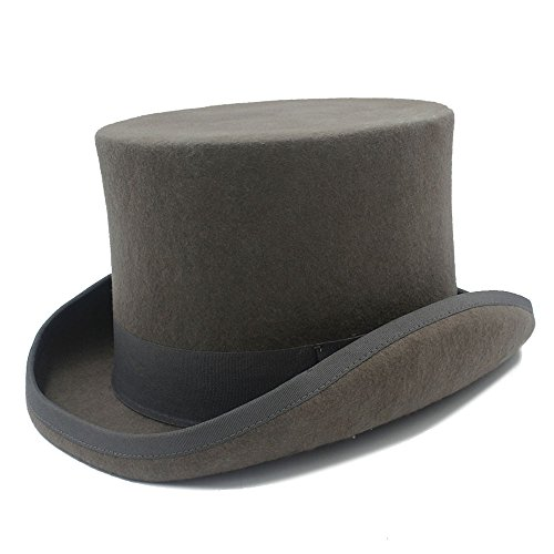 CNBEAU 15cm 4 Size Gray Black Wool Women Men Fedora Top Hat For magician Steampunk MAD Hatter Uncle Sam Beaver Party Wedding Hat (Color : 1, Size : 61cm) (Beaver Top Hat)