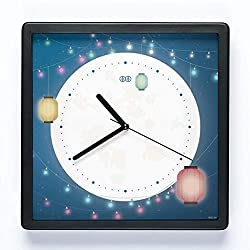 White wolf Art Wall Clock Clock Square Chinese Style Chinese Retro Creative Bedroom Living Room Mute Japanese Quartz Clock Original Design Can Be Hung Dual-use Silent Silent (Color : Black)