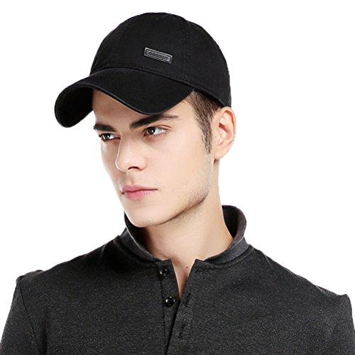 CACUSS Men's Cotton Dad Hat Classic Baseball Cap with Adjustable Buckle Closure,Golf Cap(Black)