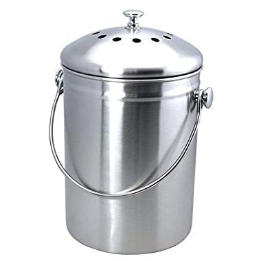 Top Rated Epica Stainless Steel Compost Bin 1.3 Gallon-Includes Charcoal Filter