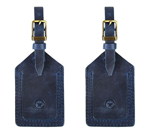 Genuine Leather Luggage Tags Travel ID Bag Baggage Suitcase Labels By Aaron Leather (Royal Blue) ()