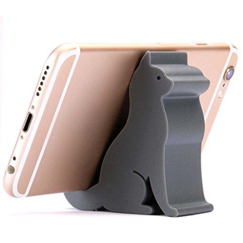 Plinrise Mini Cat Shape Cute Cell Phone Mounts Candy Color Creative Ipad Set Material of Silica Gel, Size:2.4