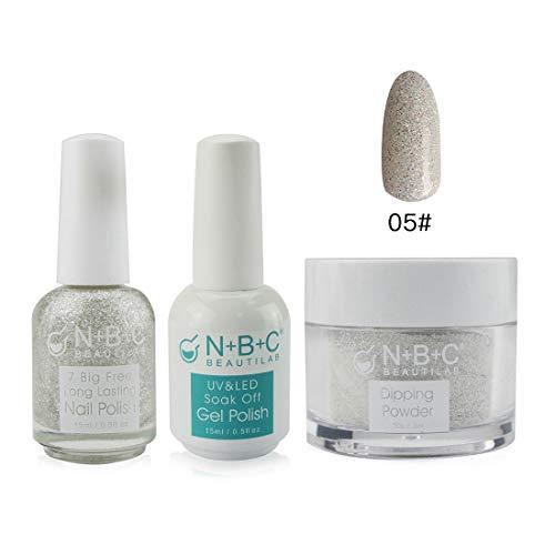 3-in-1 Kits Set Dipping Powder Dip Nails (30g / 2fl.oz), Nail Polish(15ml / 0.5fl oz), Gel Polish(15ml/0.5fl oz), Silver Glitter Color Matching System, DP002-#121