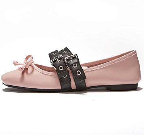 Negen Zeven Koe Lederen Dames Vierkante Teen Platte Hak Klassieke Handgemaakte Mary Jane Ballet Flats Roze