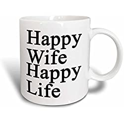 3dRose 218585_2 Wife Happy Life Black Mug, 15 oz,