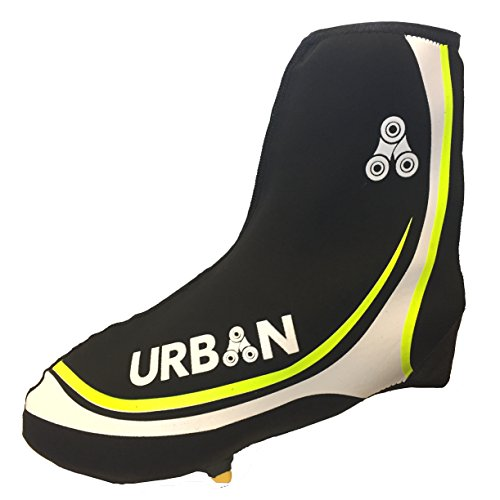 Urban Cycling Shoe Covers with Reflective Zipper - Windproof, Waterproof Neoprene Overshoes for Road and MTB, All Clip Shoe Types (Black / Fl. Yellow, US - 9/10, EURO - 42/43)