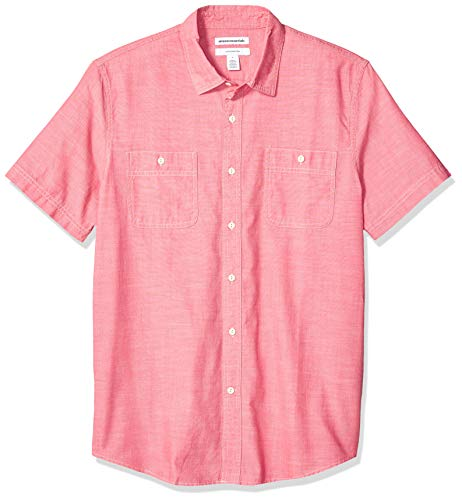 Amazon Essentials Men's Standard Slim-Fit Short-Sleeve Chambray Shirt, Red, - Mens Clothing Standard Casual
