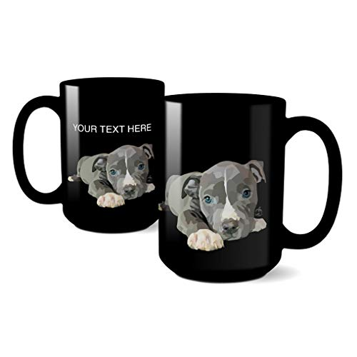 RandomOasis, Personalized Pit Bull Terrier Puppy, Dog Lovers Coffee Mug