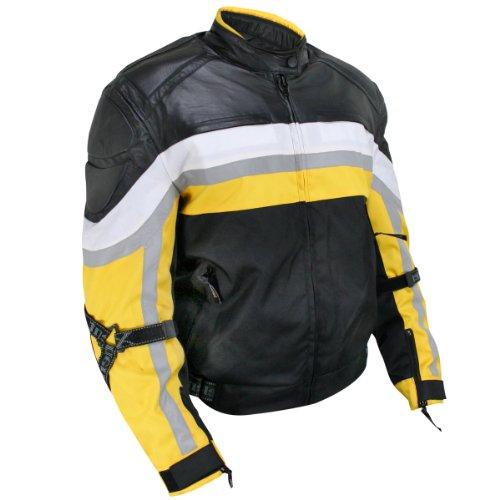 Leather Trim Motorcycle Jacket - 9