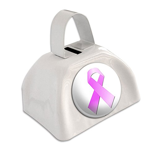 Breast Cancer Pink Ribbon White Cowbell Cow Bell ()