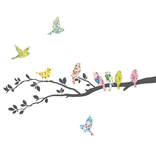 Decowall DA-1706 Floral Birds on Tree Kids Wall Decals Wall Stickers Peel and Stick Removable Wall Stickers for Kids Nursery Bedroom Living Room
