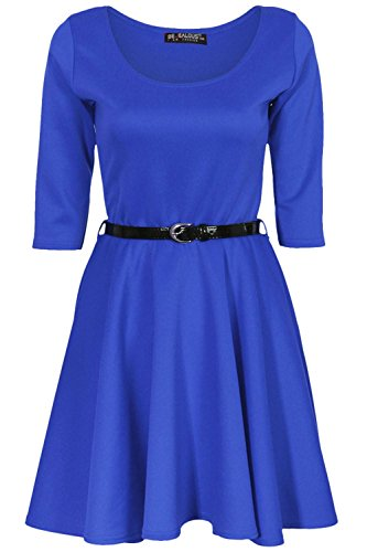 Kids Girls Plain 3/4 Sleeves Round Neck Belted Flared Swing Skater Party Dress (Fancy Dress Outlet)
