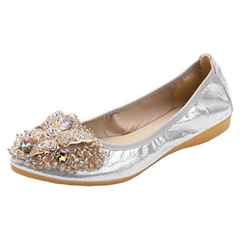 Dimensione Piatte colore Uk on A Donna 6 Ballerine Argento Slip Fuxitoggo Punta Diamond Con Argento Da qv7wnxH