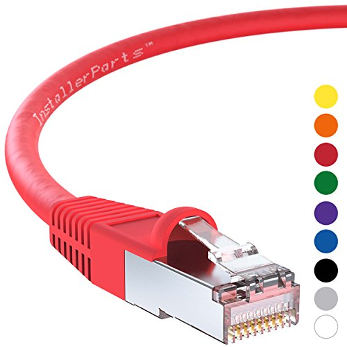 InstallerParts Ethernet Cable CAT6 Cable Shielded (SSTP/SFTP) Booted 6 FT - Red - Professional Series - 10Gigabit/Sec Network/High Speed Internet Cable, 550MHZ