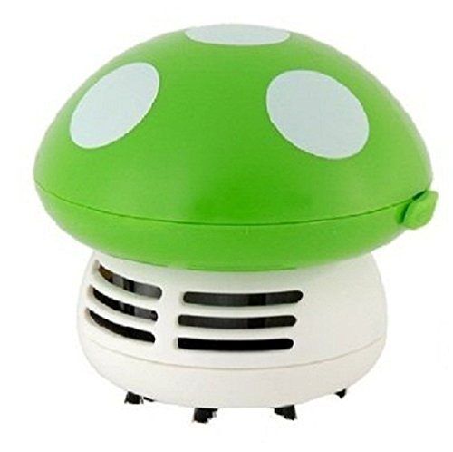 Price comparison product image discoGoods Mushroom Shaped Portable Corner Desk Table Top Vacuum Cleaner Mini Cute Vacuum Cleaner Dust Sweeper (Green)