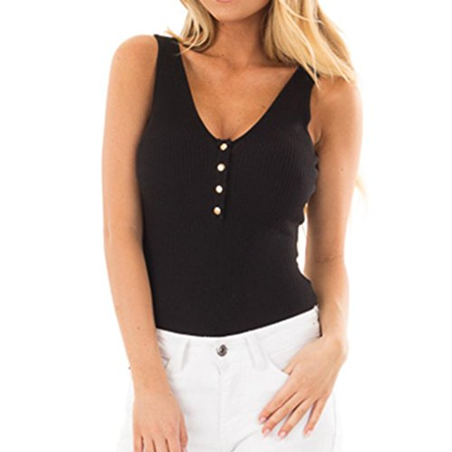 Pengy Women's Summer Sexy Solid Sleeveless Button V Neck Bodycon Casual Black Tank Tops Vest Blouse Shirt (Black, XL)