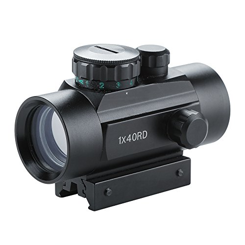 Pinty Tactical 1x40mm Reflex Red Green Dot Sight Riflescope with Free 20mm Mount Rails (Best Red Dot Sight Airsoft)