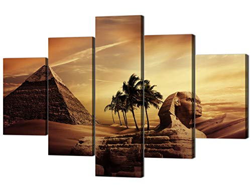 Ancient Egypt Mystery Extra Large Painting on Canvas Wall Art Modern Pyramid Secrets Sphinx Home Decor Post and prints for living room Pictures 5 Panel HD printed Framed Ready to (Egypt Pyramids Picture)