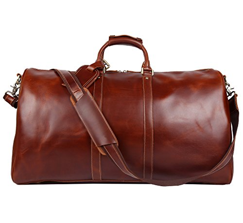 Polare 23'' Duffle Retro Thick Cowhide Leather Weekender Travel Duffel luggage (Italian Leather Duffle)