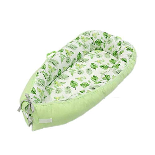Portable Baby Lounger,Super Soft and Breathable Newborn Infant Bassinet, Newborn Cocoon Snuggle Bassinet for Bed Baby Lounger Breathable & Hypoallergenic Co-Sleeping (Eco Green)
