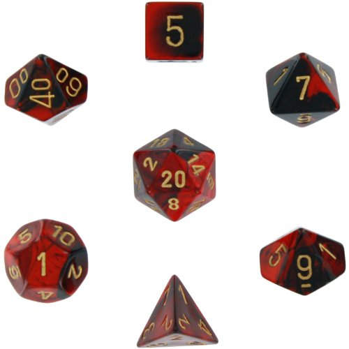 Polyhedral 7-Die Gemini Dice Set: Black & Red with Gold (d4, d6, d8, d10, d12, d20 & d00) (Sided Signature Die)