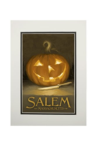 Salem, Massachusetts - Jack-O-Lantern - Halloween Oil Painting (11x14 Double-Matted Art Print, Wall Decor Ready to Frame)