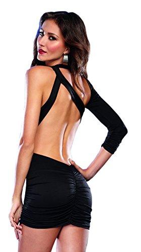 Bodycon Women's Sexy Knit Mini Dress Asymmetrical Jersey Club Black Dreamgirl qEApFwp
