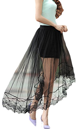 Mesh Full Skirt - Bellady Women's High Low Mesh Net Lace Overlay Maxi Skirt,Black