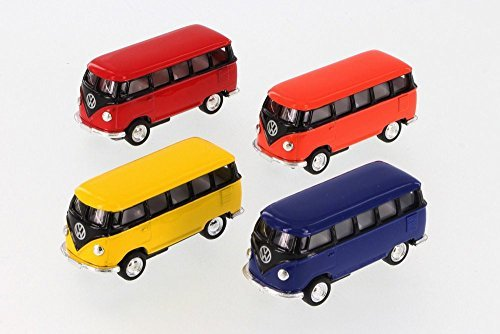 1962 VW Bus, Assorted Diecast Toys - Set of Four 2.5 Inch Mo