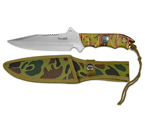 Yes4All MH-H151 Tactical Hunting Survival Fixed Blade Knife +Nylon Sheath w/intergrated Compass - ²HIGBZ