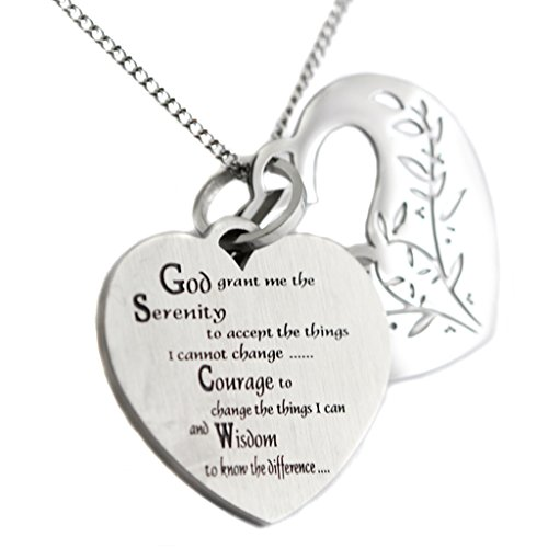 (Filigree Serenity Prayer Heart Shaped Two Piece Pendant 12 Step Serenity Prayer Necklace)