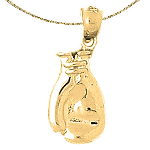 - Jewels Obsession Solid 14K Yellow Gold Boxing Gloves Pendant with 16
