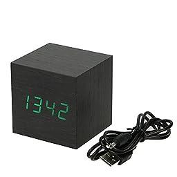 Aubig Mini Cube Desk Bed Bookshelf Led Wood Digital Alarm Clock Voice Control Time Temperature Black Wood - Green Light