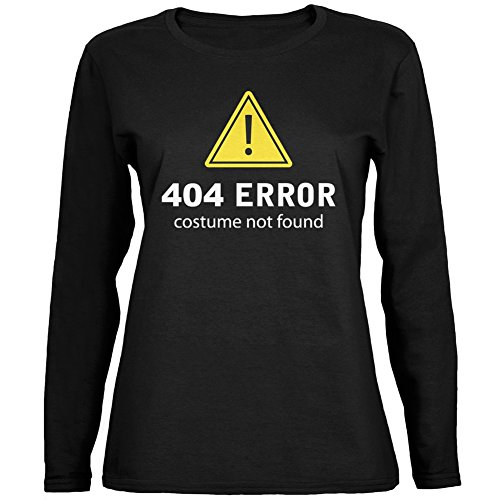 [Halloween 404 Costume Not Found Black Womens Long Sleeve T-Shirt - Large] (Costume Not Found 404)