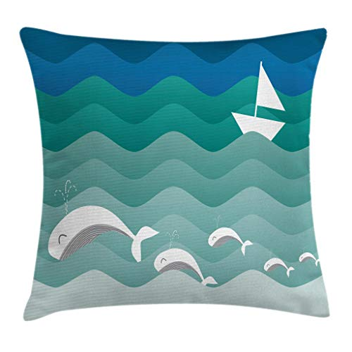 Ambesonne Nautical Decor Throw Pillow Cushion Cover, Nautical Theme with Paper Boat Sea Happy Dolphins Underwater Sea Animals, Decorative Square Accent Pillow Case, 18 X 18 Inches, Multicolor (Nautical Accent)