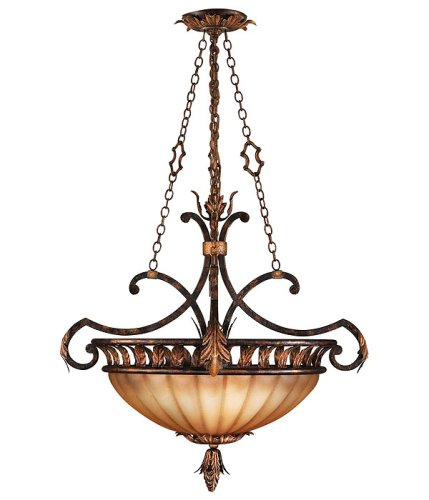 Fine Art Lamps 303840, Brighton Pavillion Large Blown Glass Bowl Pendant, 3 Light, 180 Watts, Bronze (Pavillion Pendant Lighting)