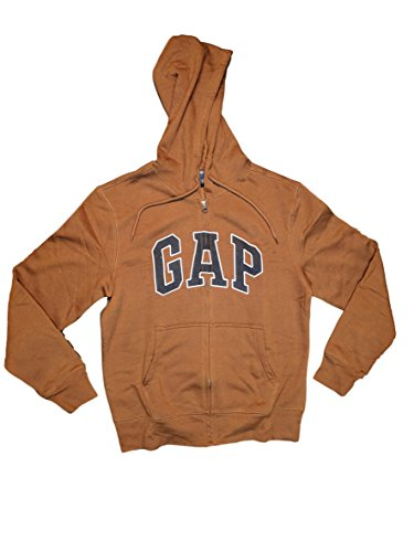 GAP Mens Fleece Arch Logo Full Zip Hoodie ... (Small, Brown)