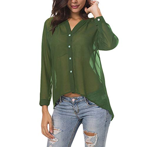 TANGSen Women Long Sleeve Thin Top Summer V-Neck Button Fashion Shirt Casual Loose Solid Color Ladies Blouse - Tie Cubs Chicago Silk