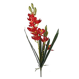 "Angel Isabella Set of 2: 33"" Large Premium Quality of Cymbidium Orchid Heliconia Spray (Real Touch Leaves, Silk Orchid Blooms) 117"