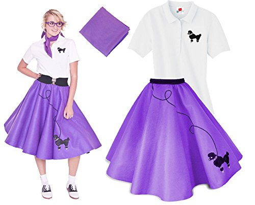 Hip Hop 50s Shop Adult 3 Piece Poodle Skirt Costume Set Purple Large - 1950s Homemade Halloween Costumes
