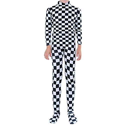 Muka Adult & Kid Zentai Unitard Bodysuit Halloween Costume Catsuit Dancewear-Checkerboard-XXL -