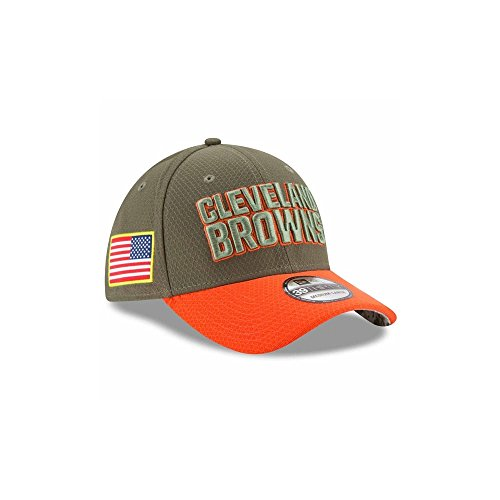 (Cleveland Browns New Era 2017 Salute To Service 39THIRTY Flex Hat - Olive (M/L))