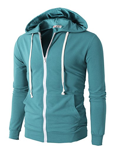 Sweatshirt Performance Hoodie - H2H Men's Performance Long Sleeve Training Full-Zip Hoodie Jacket SkyBlue US 2XL/Asia 4XL (JNSK24)