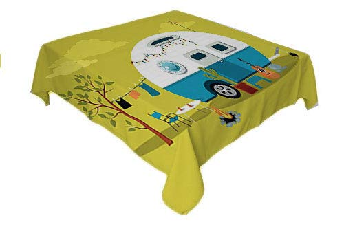 (Camping Dinning Table Covers Parked Trailer Guitar Cactus Laundry and Fire Pit Road Trip Yellow Green and Multicolor Waterproof Table Cloth Rectangle Tablecloth 60 by 84 inch)