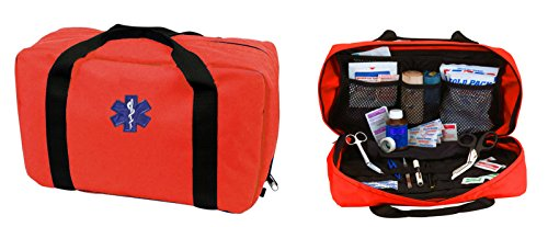 Ultimate Arms Gear Deluxe Heavy Duty Bright High Visibility Orange EMS/EMT Emergency Medical Paramedic Trauma Supplies Gear Pack Equipment First Aid Kit Carry Rescue Bag by Ultimate Arms Gear