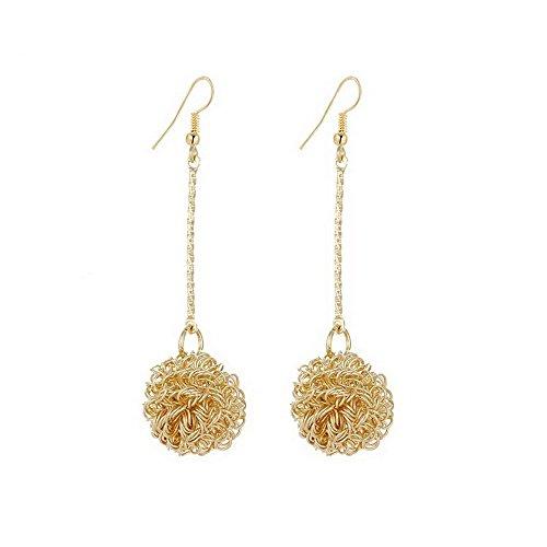 IDB Productions IDB Delicate Filigree Dangle Swirl Ball Drop Hook Earrings - available in silver and gold tones (Gold tone) - Gold Swirl Earrings