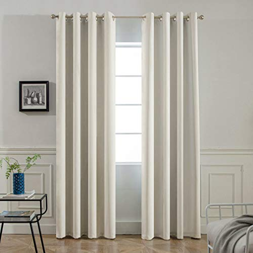 (Yakamok Room Darkening Thermal Insulated Light Reducing Blackout Curtains for Living Room,2 tie Backs Included (52Wx96L, Light Beige, 2 Panels))