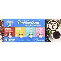 Victor Allen's Coffee Winter Wonderland 96ct Flavored Variety Pack (Peppermint Bark, Cinnamon Bun, Sugar Cookie, Vanilla Buttercream), 96 Count Single Serve Coffee Pods for Keurig K-Cup Brewers